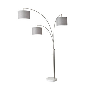 Bowery Brushed Steel Three-Light Arc Lamp