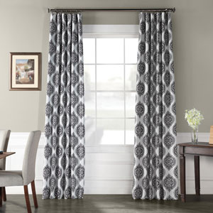 Moroccan Grey 96 x 50 In. Faux Silk Taffeta Blackout Curtain