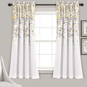 Weeping Flower Yellow and Gray 52 x 63 In. Room Darkening Window Curtain Panel, Set of 2
