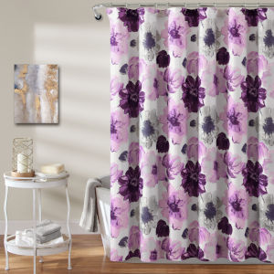 Leah Gray and Purple 72 x 72 In. Shower Curtain