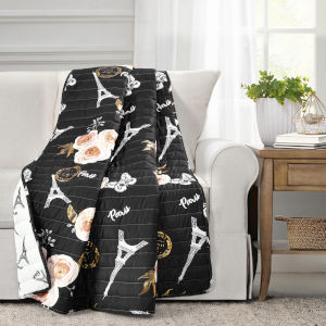Vintage Paris Black 60 x 50 In. Rose Butterfly Script Throw