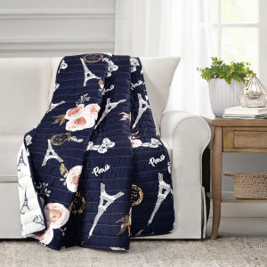 Vintage Paris Navy and White 60 x 50 In. Rose Butterfly Script Throw
