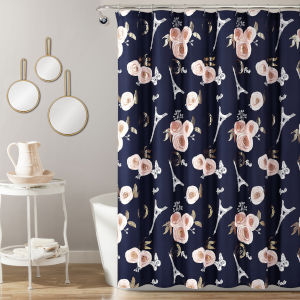 Vintage Paris Navy and White 72 x 72 In. Rose Butterfly Script Single Shower Curtain