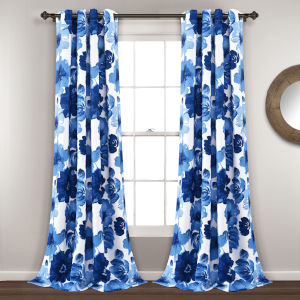 Leah Blue and White 52 x 84 In. Room Darkening Window Curtain Panel, Set of 2
