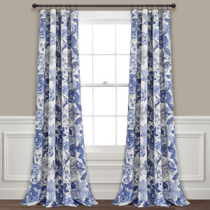 Sydney Blue and White 52 x 95 In. Room Darkening Window Curtain Panel, Set of 2