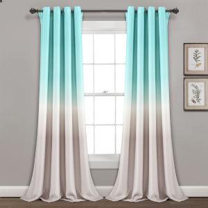 Umbre Fiesta Aqua and Gray 52 x 84 In. Room Darkening Window Curtain Panel, Set of 2