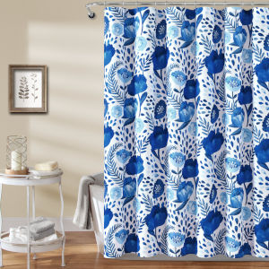 Poppy Garden Blue 72 x 72 In. Single Shower Curtain