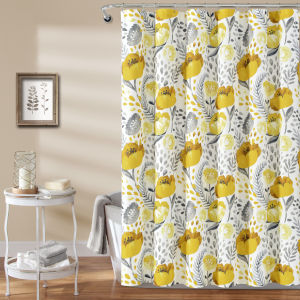 Poppy Garden Yellow and White 72 x 72 In. Single Shower Curtain