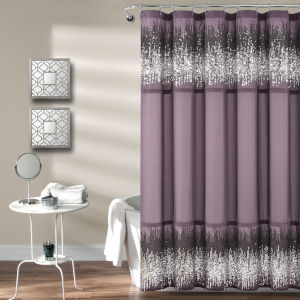 Purple and Black 72 x 72 In. Single Shower Curtain