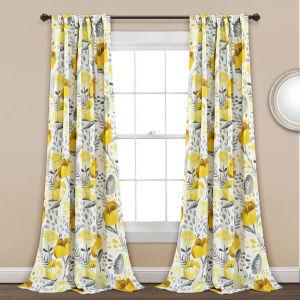 Poppy Garden Yellow and White 52 x 84 In. Room Darkening Window Curtain Panel, Set of 2