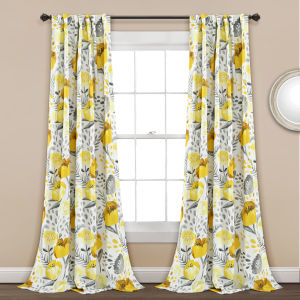 Poppy Garden Yellow and White 52 x 95 In. Room Darkening Window Curtain Panel, Set of 2
