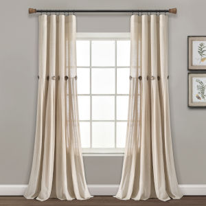Linen Button Cream 40 x 84 In. Single Window Curtain Panel