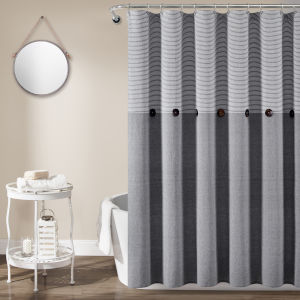 Farmhouse Gray 72 x 72 In. Button Stripe Woven Shower Curtain