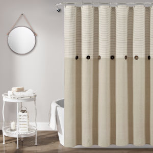 Farmhouse Beige 72 x 72 In. Button Stripe Woven Shower Curtain