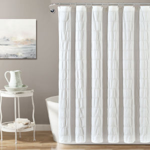 Waffle Stripe White 72 x 72 In. Single Shower Curtain