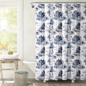 White and Blue 72 x 72 In. Shower Curtain