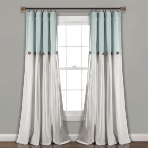 Linen Button Blue and Gray 40 x 108 In. Single Window Curtain Panel