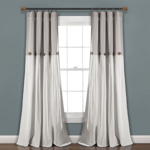 Linen Button Gray and White 40 x 108 In. Single Window Curtain Panel