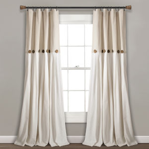 Linen Button Beige and Off White 40 x 108 In. Single Window Curtain Panel