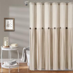 Linen Button Cream 72 x 72 In. Button Single Shower Curtain