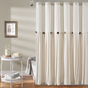 Linen Button Off White 72 x 72 In. Button Single Shower Curtain