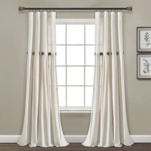 Linen Button Off White 40 x 95 In. Single Window Curtain Panel