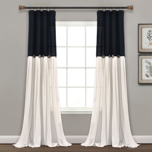 Linen Button Black and White 40 x 95 In. Single Window Curtain Panel