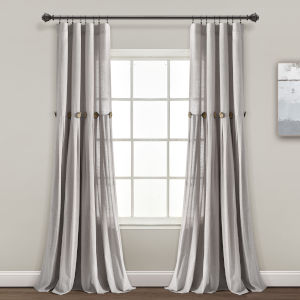 Linen Button Gray 40 x 95 In. Single Window Curtain Panel