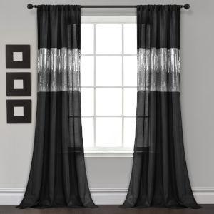 Night Sky Black 42 x 84 In. Single Window Curtain Panel