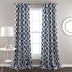 Edward Trellis Navy and White 52 x 95 In. Room Darkening Window Curtain Panel, Set of 2