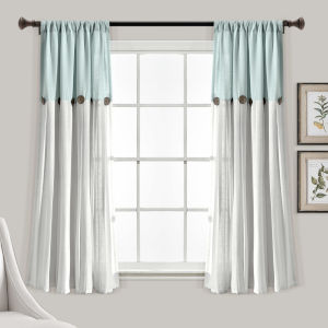 Linen Button Blue and Gray 40 x 63 In. Single Window Curtain Panel