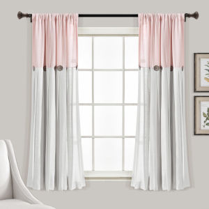 Linen Button Blush and White 40 x 63 In. Single Window Curtain Panel