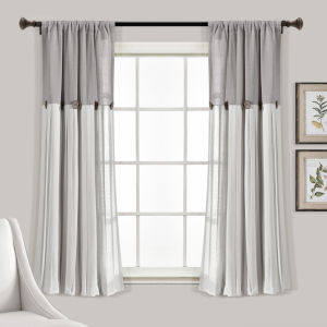 Linen Button Gray and White 40 x 63 In. Single Window Curtain Panel
