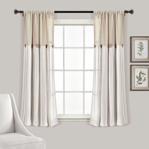 Linen Button Beige and Off White 40 x 63 In. Single Window Curtain Panel