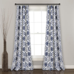 Marvel Blue and White 52 x 95 In. Room Darkening Window Curtain Panel, Set of 2
