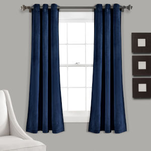 Prima Navy 38 x 63 In. Room Darkening Window Curtain Panel, Set of 2