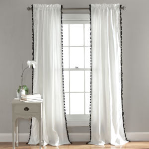 Pom Pom White and Black 50 x 108 In. Single Window Curtain Panel