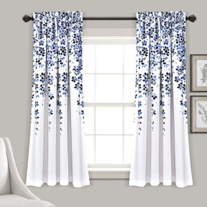 Weeping Flower Navy and White 52 x 63 In. Room Darkening Window Curtain Panel, Set of 2