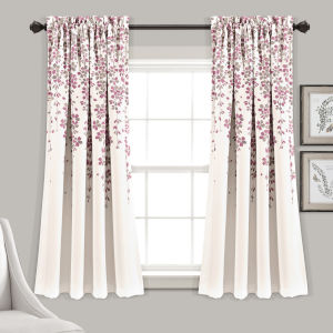 Weeping Flower Purple and White 52 x 63 In. Room Darkening Window Curtain Panel, Set of 2