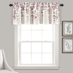 Weeping Flower Purple and White 52 x 18 In. Window Valance