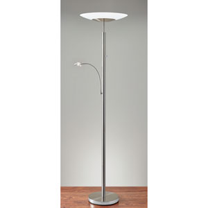 Stellar Brushed Steel Two-Light Combination LED Torchiere