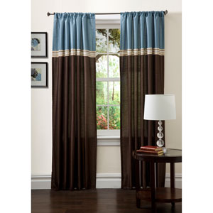 Terra Curtain Panel Pair Blue and Chocolate 108-Inch