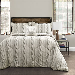 Gray Printed Cable Knit Four-Piece Full/Queen Comforter Set