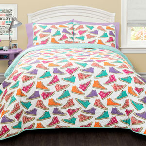 Canvas Shoes Turquoise Two-Piece Twin Quilt Set