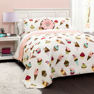Cupcake Ice Cream Three-Piece Twin Quilt Set