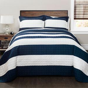 Navy and White Stripe Three-Piece Full/Queen Quilt Set