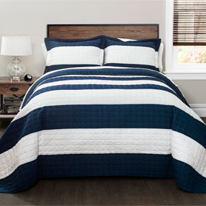 Navy and White Stripe Three-Piece King Quilt Set