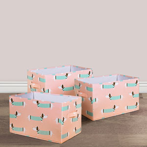 Pink Sausage Dog Fabric Covered Collapsible Box, Three-Piece Set