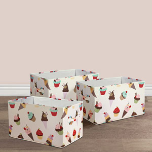 Cupcake Icecream Fabric Covered Collapsible Box, Three-Piece Set