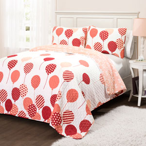 Flying Balloon Pink Two-Piece Twin Quilt Set
